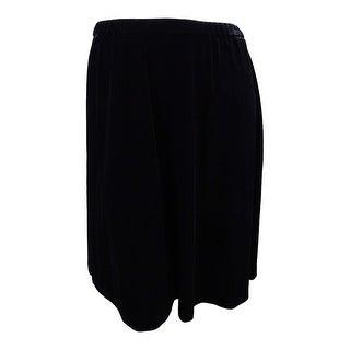 Alex Evenings Women's Plus Size Velvet A-Line Skirt - Black