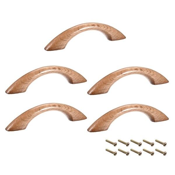 Wood Pull Handles 65mm Hole Distance 91mm Length Cabinet Drawer Door 5pcs - B-65mm Hole Distance-5pcs