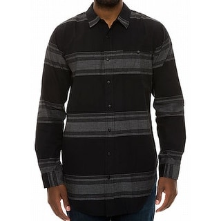 Ezekiel NEW Black Grey Mens Size Small S Button Down Stripe Shirt