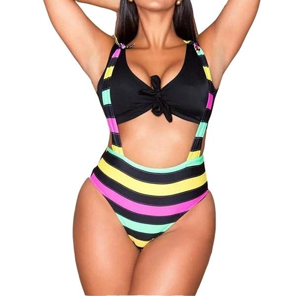 eabe76bb3c Shop Dreamsoar Pink Black Women s Size 4X Striped One-Piece Swimwear ...