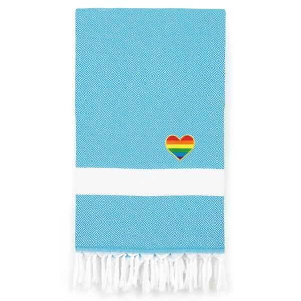 Authentic Hotel And Spa 100 Turkish Cotton Diamond Cheerful Rainbow Heart Pestemal Beach Towel Overstock 31523526