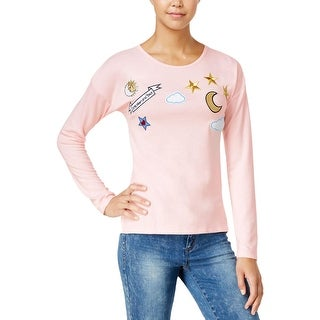 Oh!MG Womens Juniors Pullover Sweater Graphic Long Sleeves