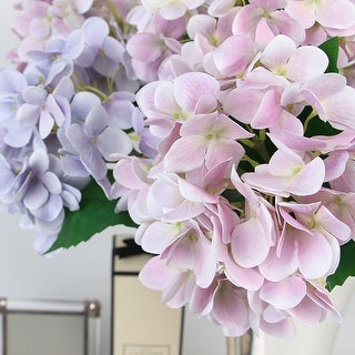 """FloralGoods Real Touch Hydrangea Stem in Light Purple and Light Pink 24"""" Tall"""