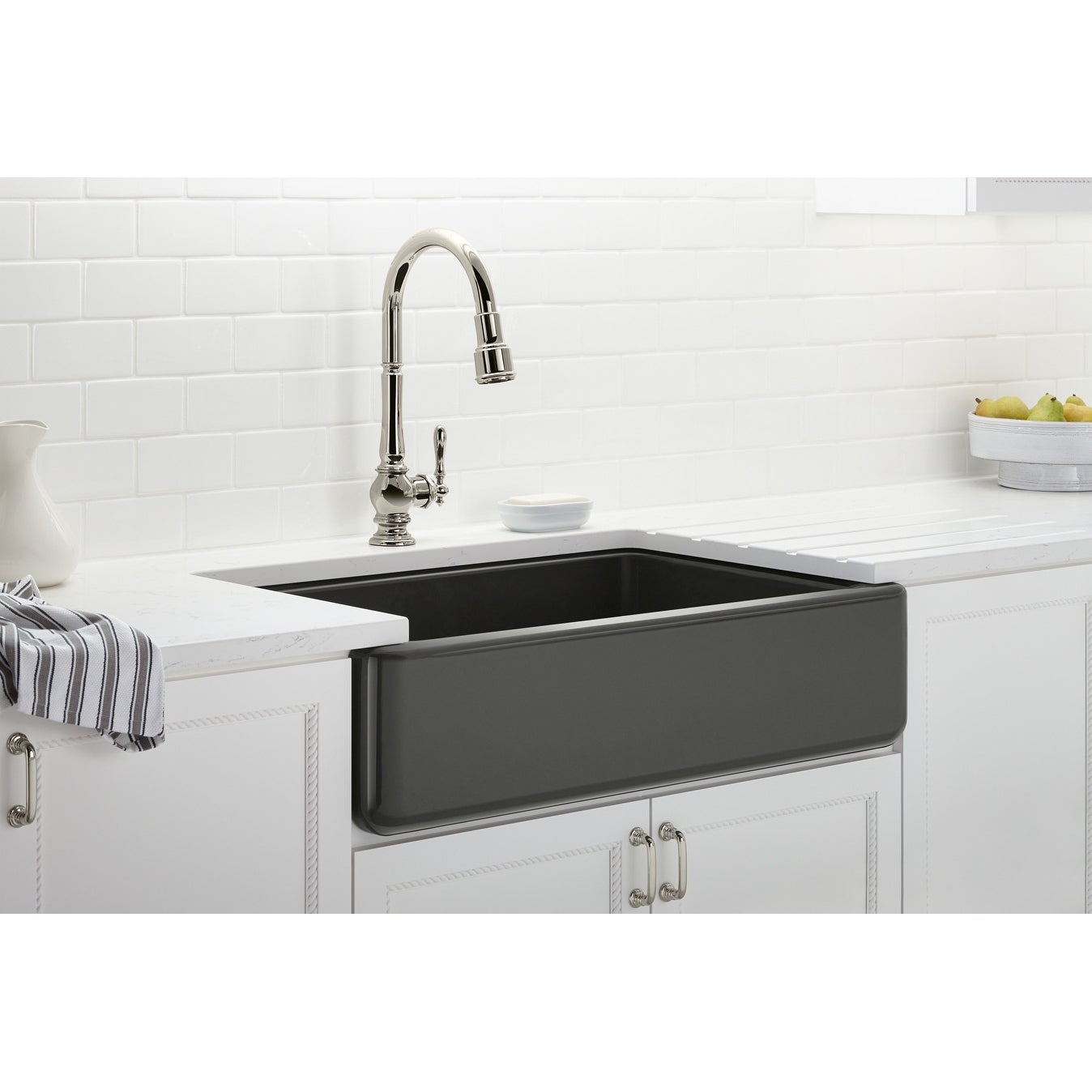 Kohler K 6489 Whitehaven 36 Single Basin Undermount Enameled Cast Iron Kitchen Sink With Self T A Front