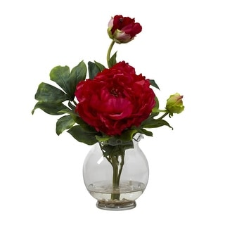 Nearly Natural Peony with Fluted Vase Silk Flower Arrangement
