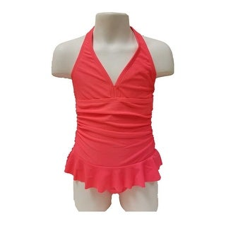 Freestyle Revolution Girls Halter One-Piece Swimsuit Coral Size 4