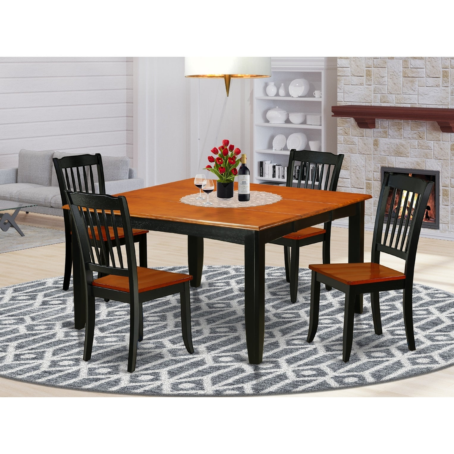 Square 36 54 Inch Table With 18 Leaf And 4 Vertical Slatted Chairs Number Of Chairs Option Overstock 28480013 9 Piece Sets 8