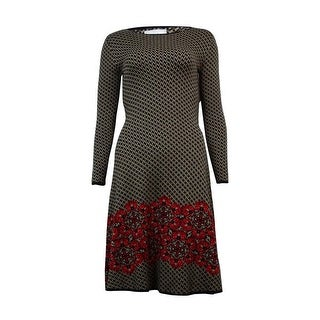 ECI Women's Floral-Hem Intarsia Sweater Dress