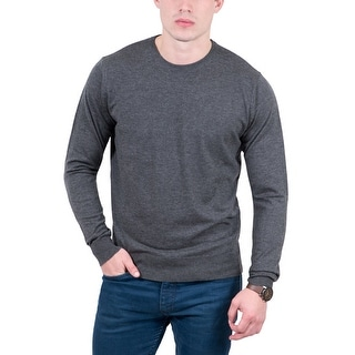 Real Cashmere Grey Crewneck Cashmere Blend Mens Sweater