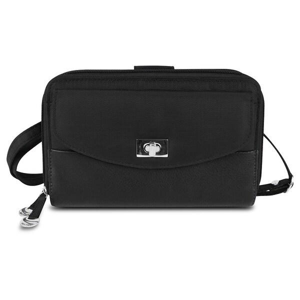 Travelon SafeID Accent Double Zip Clutch Wallet, Black