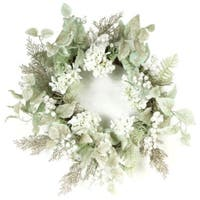 "24"" Artificial Hydrangea and Glittered Berry Christmas Wreath - Unlit - Green"