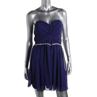 Roberta Womens Juniors Cocktail Dress Tulle Strapless - M
