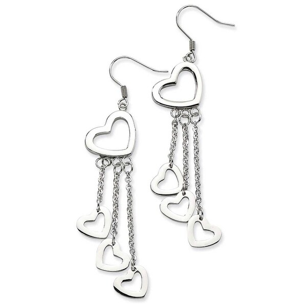Chisel Stainless Steel Polished Hearts Dangle Earrings