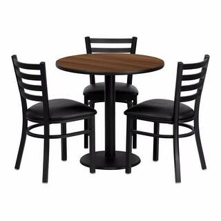 Offex 30'' Round Walnut Laminate Table Set with Ladder Back Metal Chair , Black Vinyl Seat [OF-REST-0002-BK-WAL-FS-TDR]