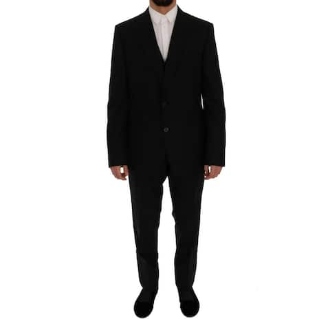 Dolce & Gabbana Black Wool Slim Fit 3 Piece Men's Suit - it56-xxl