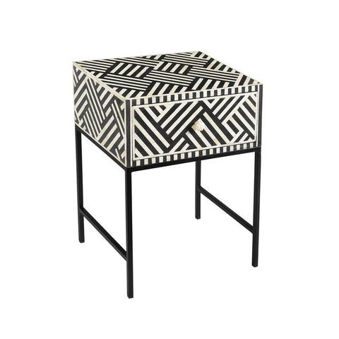 The Curated Nomad Kasitor 1-drawer Bone Inlay Side Table