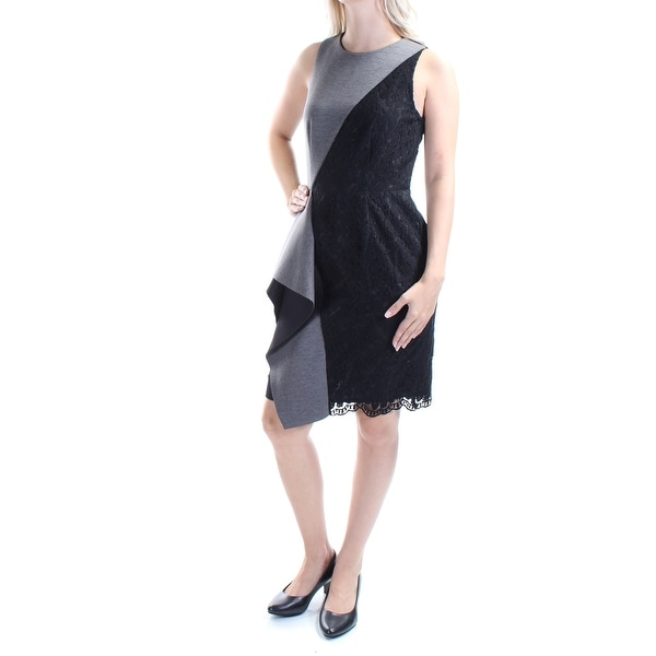 f3dbc670ed1 Shop RACHEL ROY Womens Black Lace Zippered Sleeveless Jewel Neck Above The  Knee Fit + Flare Evening Dress Size  4 - Free Shipping On Orders Over  45  ...