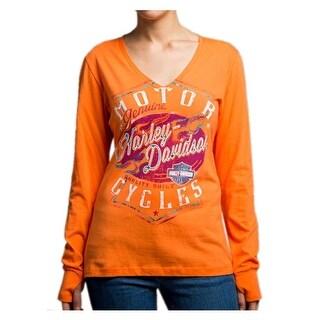 Harley-Davidson Women's Braking Properly Long Sleeve V-Neck Shirt 5U15-HD07