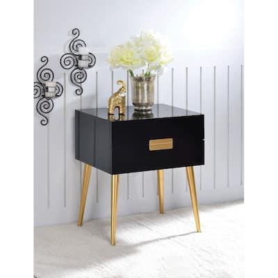 "Denvor Night Table in Black & Gold- 20""Lx 16""Wx 24""H"