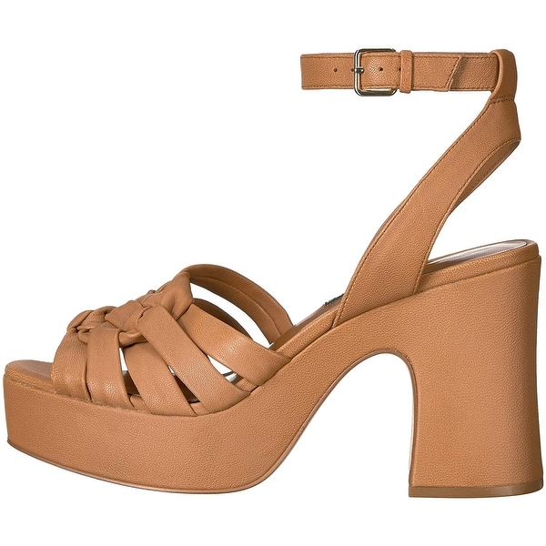 Nine West Womens Fetuchini Leather Open Toe Casual Slingback Sandals