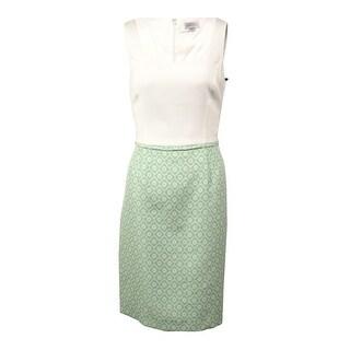 Tahari Women's Floral Jacquard Twofer Sheath Dress - ivory/pastel green