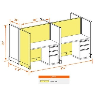 Hotelling Station 53H 4pack Cluster Powered (2x4 - White Desk Silver Paint - Assembled)