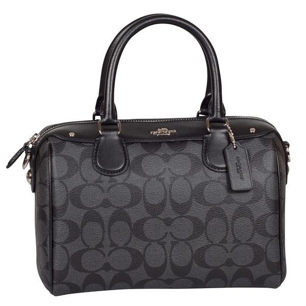 83e4d7ae5602 Shop Coach Signature Mini Bennett Satchel Handbag in Black  Smoke - Free  Shipping Today - Overstock - 25638296