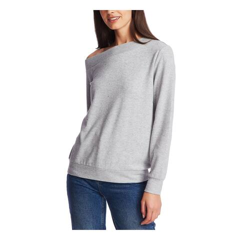 1. STATE Womens Gray Heather Long Sleeve Jewel Neck Sweater Size S