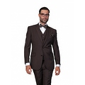 ST-100 Men's 3pc Solid BROWN Suit, Modern Fit, 2 Button, 2 Side Vent, Flat Front Pants - Thumbnail 0