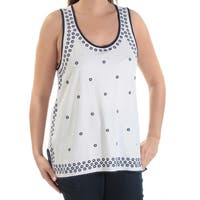TOMMY HILFIGER Womens Navy Floral Sleeveless Scoop Neck Top  Size: L