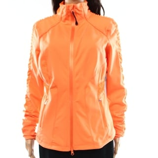 Zella NEW Orange Women's Size Large L Full-Zipped Ruched Solid Jacket