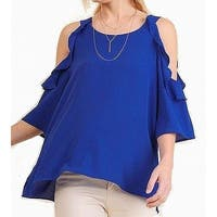 Umgee Blue Womens Size Medium M Ruffle Cold Shoulder Knit Top