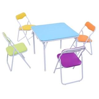 Costway Kids 5 Piece Folding Table Chair Set Children Multicolor Play Room Furnitur  sc 1 st  Overstock & Kids\u0027 Table \u0026 Chair Sets For Less | Overstock