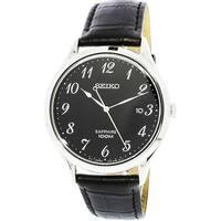 Seiko Men's  Silver Leather Japanese Quartz Fashion Watch