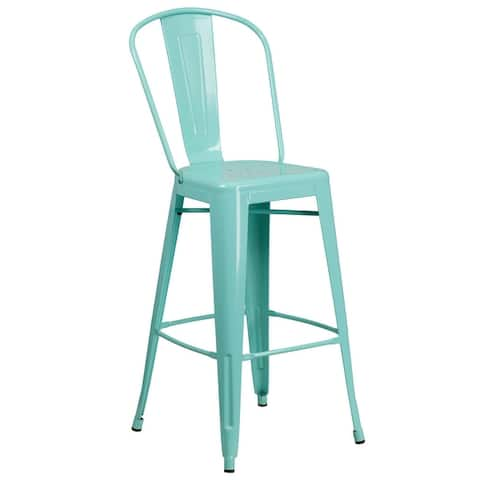 "30'' High Metal Indoor-Outdoor Barstool with Back - 18""W x 19""D x 46""H"