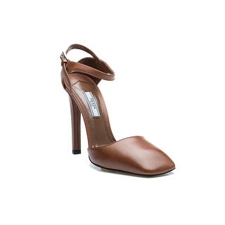 Prada Women's Natural Brown Lambskin Strapped High Heel Shoes