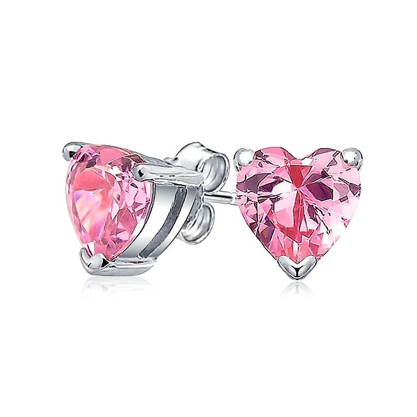 d93df5fd06c50 1 CT Pink Cubic Zirconia Heart Shaped CZ Solitaire Stud Earrings For Women  For Girlfriend 925 Sterling Silver 7mm