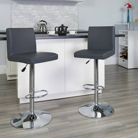 """Gray Vinyl Adjustable Height Barstool with Panel Back and Chrome Base - 15.25""""W x 18.5""""D x 35.25"""" - 43.75""""H"""