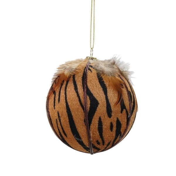 "Diva Safari Tiger Print with Feathers Ball Christmas Ornament 4"" (100mm)"