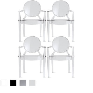 2xhome - Set of 4, Modern Plastic Chairs Chairs Dining Chairs Clear
