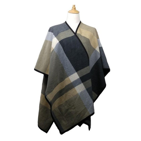 a84313150dd82 Women Plaid Checkered Design Soft & Warm Ruana Poncho Cover up White  Black Cozy Gift