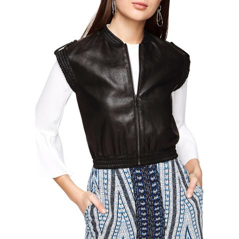BCBG Max Azria Womens Outerwear Vest Winter Faux Leather - M