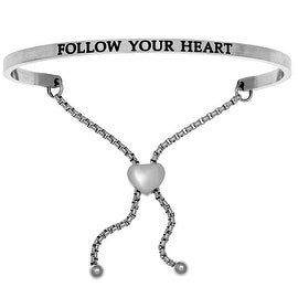 "Intuitions ""Follow Your Heart"" Stainless Steel Adjustable Bolo Friendship Bracelet"