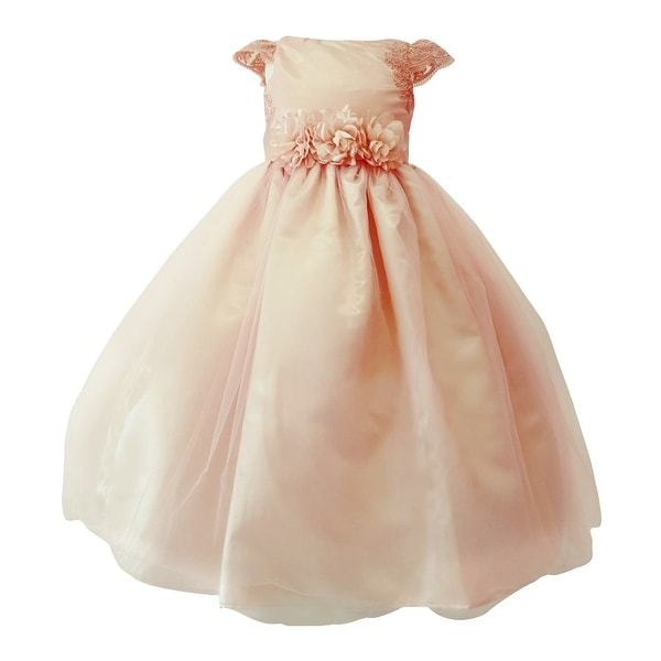 a4cc72323 Shop Girls Blush Embroidered Cap Sleeve Floral Belt Junior Bridesmaid Dress  - Free Shipping Today - Overstock - 25542322