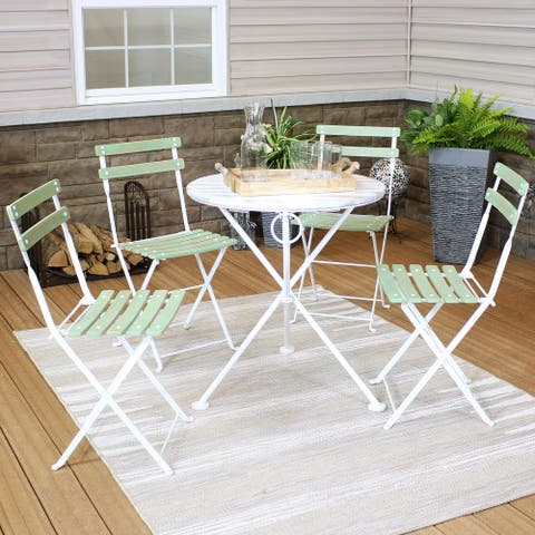 Sunnydaze Classic Cafe Chestnut Wooden Folding Bistro Table and Chairs - 5-Piece