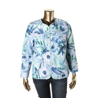 Alfred Dunner Womens Jacket Reversible Floral Print - 16