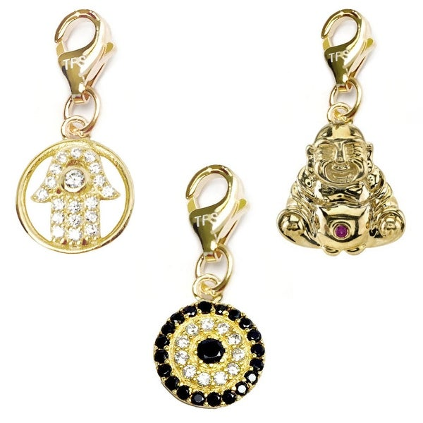 Julieta Jewelry Lucky Eye, Protection Hand, Buddha Over Sterling Silver Clip-On Charm Set
