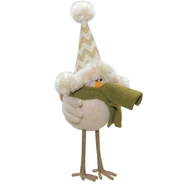 """8.25"""" Cream Colored Standing Bird with Hat and Scarf Tabletop Decoration - WHITE"""