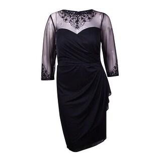 Patra Women's Bead Embellished Illusion Ruched Chiffon Dress - Black