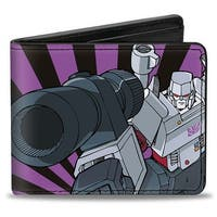 Megatron Shooting + Standing Pose Rays Black Purple Bi Fold Wallet - One Size Fits most
